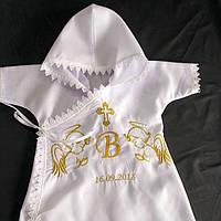 Крестильная рубашечка с капюшоном и крылышками