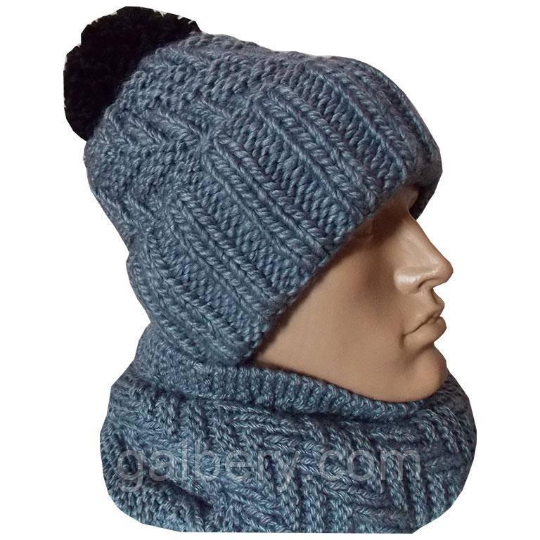 Зимова шапка ручної роботи з помпоном