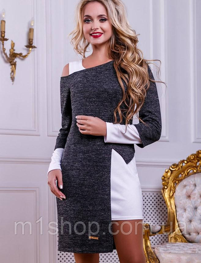 Женское белое платье-комплект с меланжевой туникой (2472-2473-2474-2476 svt)