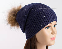 Зимняя вязаная шапка с помпоном Эскада индиго
