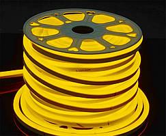 Светодиодный неон Prolum SMD2835, желтый 120шт/м, 10W/m, IP68, 220V