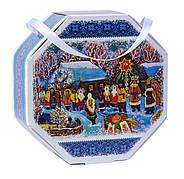 Картонная упаковка для конфет Восьмигранник с ручкой Рождество на вес 500г, от 1 штуки