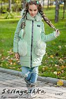 Куртка с меховыми карманами на девочку ментол