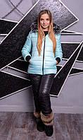 """Зимний костюм - тройка """"Лакшери"""" в расцветках (38-82) Аквамарин С Черными Брюками"""