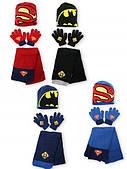 Шапка+шарф+перчатки для мальчиков Superman оптом.