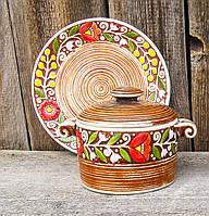 Горщик порційний з ручками + підставна тарілка коричневі