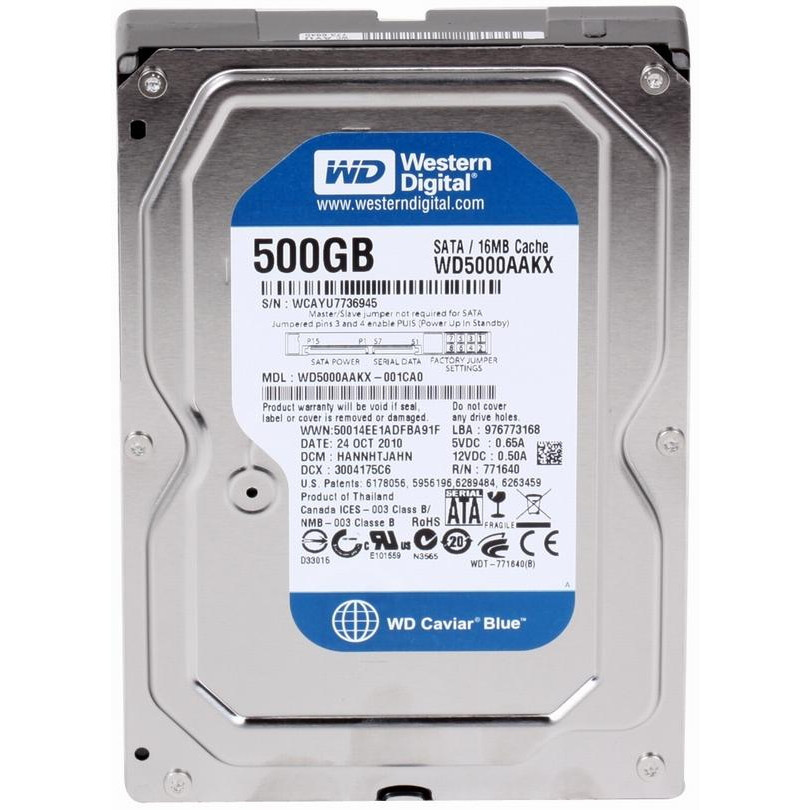 "Жесткий диск (HDD) 3.5"" 500Gb Western Digital (WD5000AAKX) (7200RPM/16M/SATA III)"