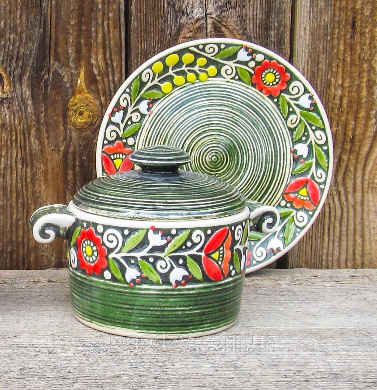 Горщик порційний з ручками + підставна тарілка зелені