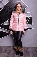 """Зимний костюм - тройка """"Лакшери"""" в расцветках (38-82) розовый с черными брюками"""