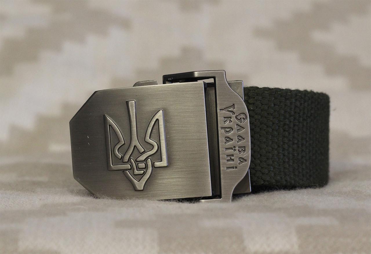 Тактический брючной ремень Слава Украине с пряжкой tactical olive (Slava olive)
