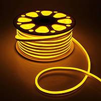 Светодиодный неон Biom SMD2835, желтый 120шт/м, 8W/m, IP65, 220V, фото 1