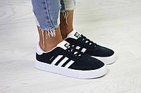 Женские кеды Adidas Samba весна-осень замшевые стильные удобные на платформе на шнурках (синие), ТОП-реплика, фото 1