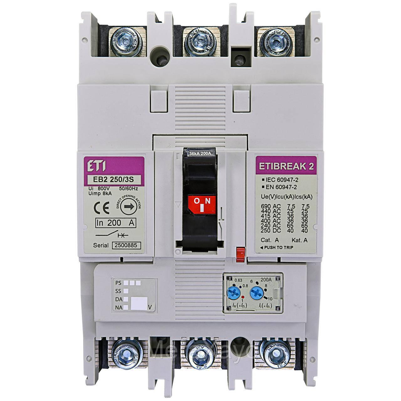 Промышленный автоматический выключатель ETI ETIBREAK EB2 250/3S 200А 3р (36кА)