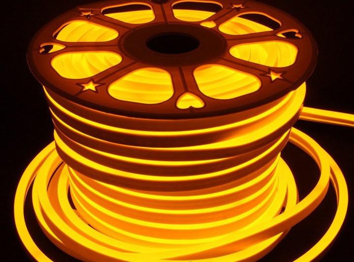 Светодиодный неон Biom SMD2835, золотой 120шт/м, 8W/m, IP65, 220V