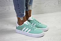 Жіночі кеди Adidas Samba весняні осінні повсякденні яскраві під джинси (м'ятні), ТОП-репліка, фото 1
