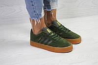 Женские кеды Adidas Samba  осенние стильные низкие на шнурках удобные кеды адидас (зеленые), ТОП-реплика , фото 1