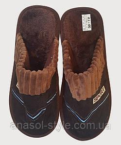 Тапочки мужские плюш коричневые