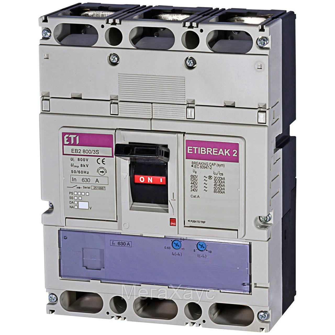 Промышленный автоматический выключатель ETI ETIBREAK   EB2 800/3S 630A 3p (50kA)