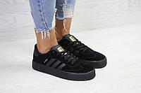 Женские кеды Adidas Samba повседневные осенние удобные на платформе замша+резина (черные), ТОП-реплика