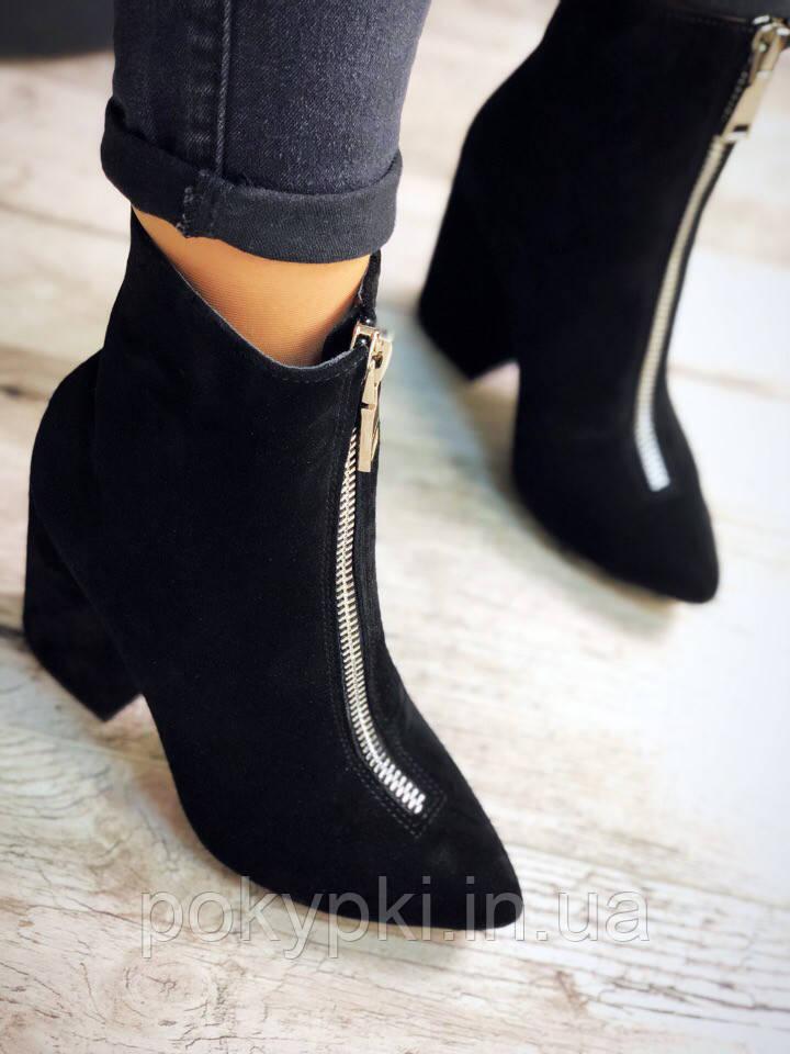 5802a1d9d Модные замшевые женские ботинки на устойчивом каблуке черные -