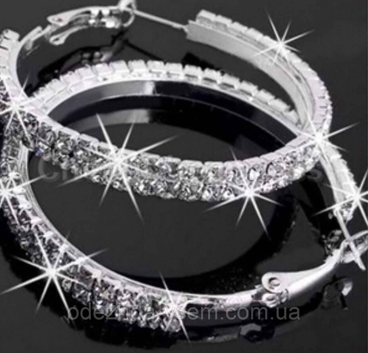 Серьги кольца из страз в один ряд 5,5 см