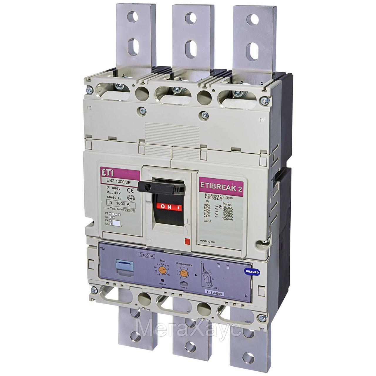 Промышленный автоматический выключатель ETI ETIBREAK  EB2 1000/3LE 1000A 3p (50kA)