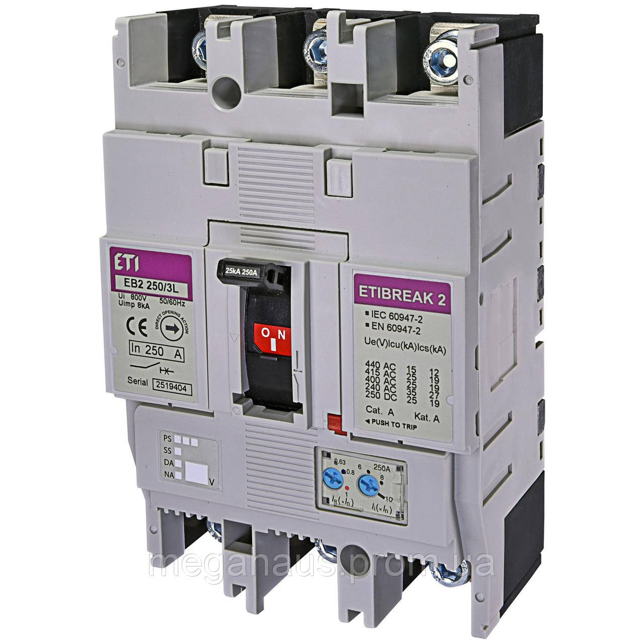 Промышленный автоматический выключатель ETI ETIBREAK  EB2 250/3L 250А 3р (25кА)