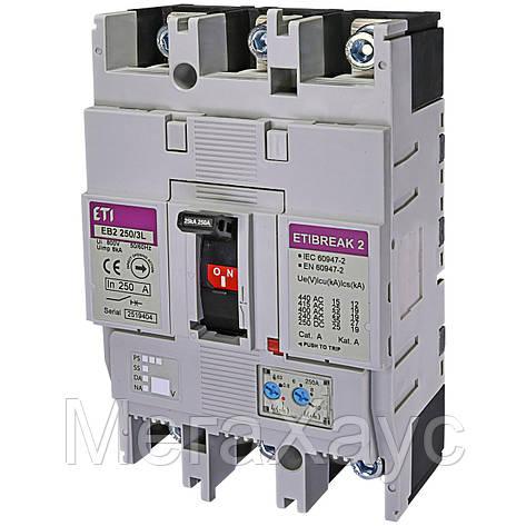 Промышленный автоматический выключатель ETI ETIBREAK  EB2 250/3L 250А 3р (25кА), фото 2