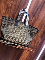 Женская брендовая сумка Фенди Fendi дорогой Китай коричневая, фото 1