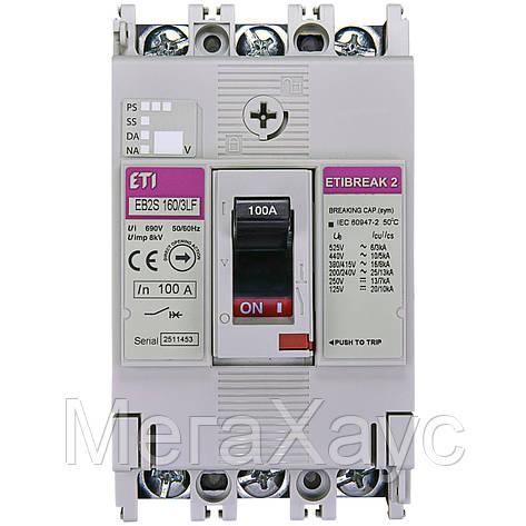 Промышленный автоматический выключатель ETI ETIBREAKА  EB2S 160/3LF 100А 3P (16kA фикс.настр., фото 2