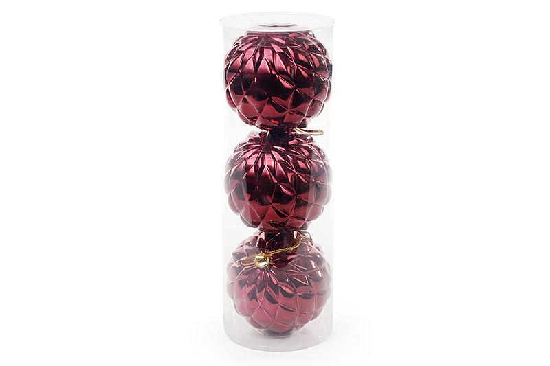 Копия Набор елочных шаров (3 шт) 8см, бордовый BonaDi 105-005