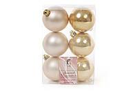Копия Набор елочных шаров 6см, цвет - светлое золото, 6шт: матовый, перламутр - по 3шт BonaDi 147-052