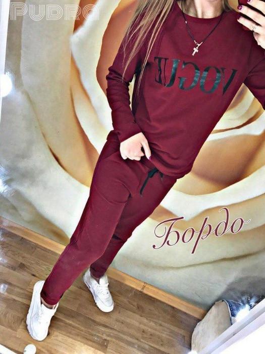 Женский спортивный костюм с модной надписью Vogue ВОГ ткань трикотаж С-ка бордо бордовый