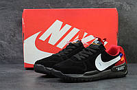 Мужские кроссовки Nike off White MARS замша молодежные повседневные на шнурках осень (черные), ТОП-реплика, фото 1