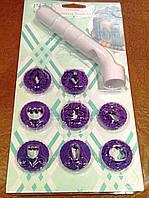 Набор штампов для работы с мастикой (8 шт) с ручкою