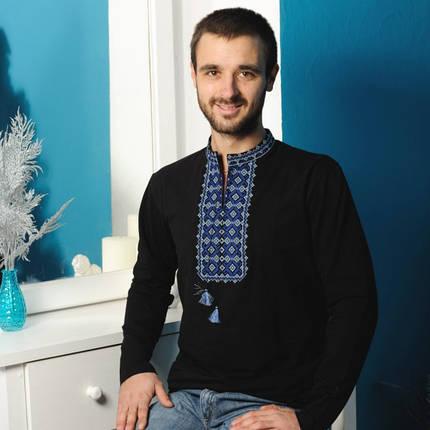Мужская  вишиванка длинный рукав с синим  орнаментом, фото 2