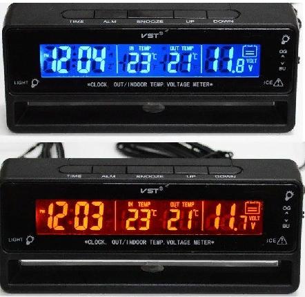 Автомобильные часы,термометр, вольтметр 7010V., фото 1