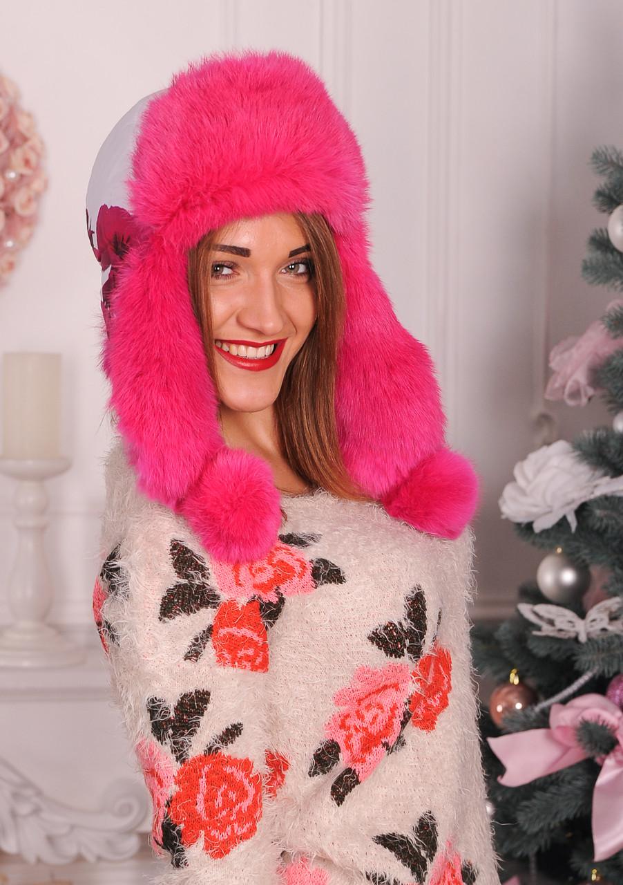 Розовая шапка ушанка, натуральный кроль