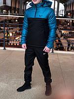 Теплая куртка-анорак Intruder стильная мужская куртка осень - весна с капюшоном не промокающая
