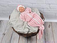 """Безразмерная пеленка на молнии """"Каспер"""" с шапочкой, Треугольники розовые, фото 1"""