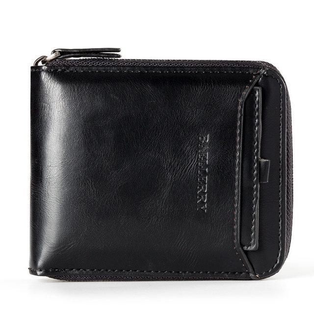 Мужской кошелек BAELLERRY Casual Mini кожаный портмоне на молнии Short Черный (SUN0569)