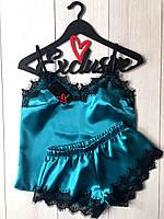 Пижама женская атласная с нежным черным кружевом