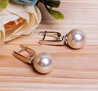 Серебряные серьги с жемчугом #, фото 1