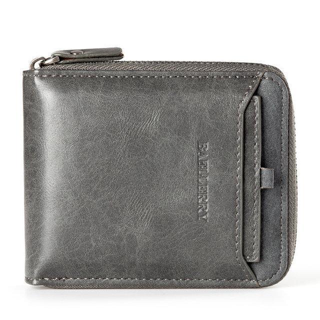 Чоловічий гаманець BAELLERRY Casual Mini шкіряне портмоне на блискавці Short Сірий (SUN0570)