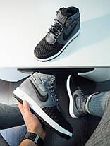 Кроссовки мужские Nike Duckвoot' AF 1 высокие серо - черные топ реплика, фото 2
