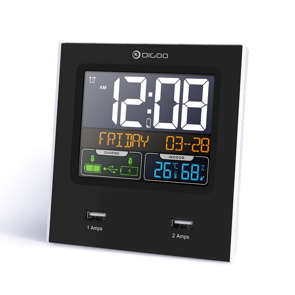 Digoo DG-C3X годинник для дому з функціями метеостанції, кольоровим дисплеєм і портами USB для зарядки пристроїв