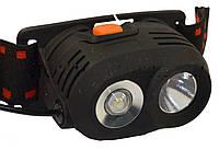 Фонарик налобный для диггеров и рыбаков, белый + синий светодиоды, led, прочный корпус, крепление на голову