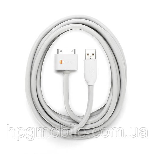 Кабель Griffin USB/Dock Cable 3 метра, для iPhone 4/4S, iPad 2/3