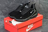 Мужские кроссовки Nike Air  Max 270 осенние повседневные для зала, найк на шнурках (черные), ТОП-реплика, фото 1