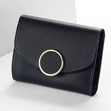 Женский кошелек BAELLERRY Woman Mini кожаное портмоне на кнопке Черный (SUN0547)